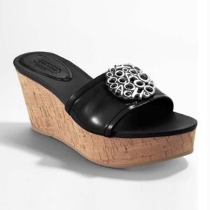 Coach Judith Black Patent Leather Wedge Slides 8.5